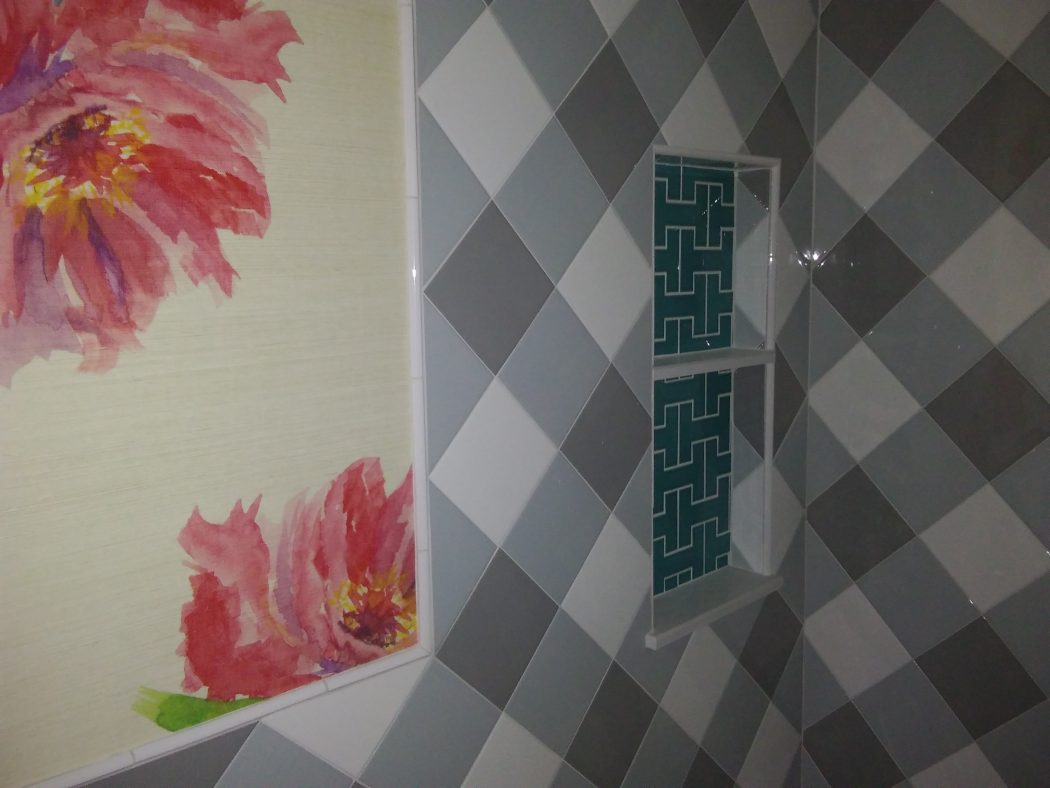"Plaid 8x8 and Custom hand made ""H"" tile niche with marble shelves."