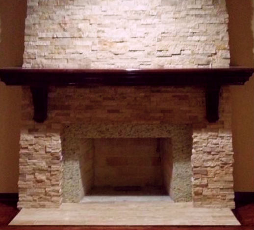 Travertine architectural stacked stone ledger